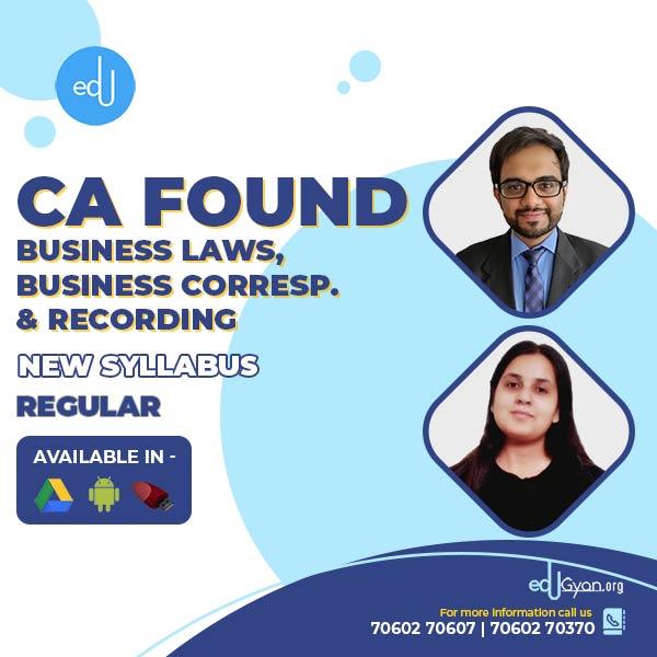 CA Foundation Business Laws & BCR By CA Punarvas & Prof Ritu