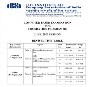REVISED TIME-TABLE OF CS EXAM JUNE 2020