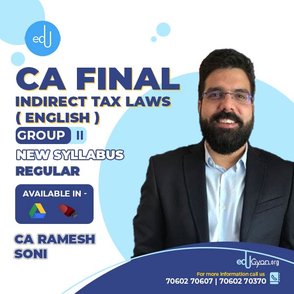 CA Final Indirect Tax By CA Ramesh Soni (English)