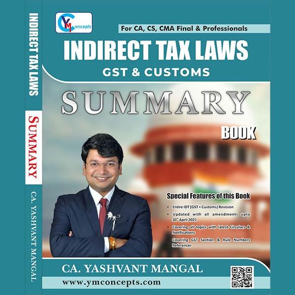 CA Final IDT– Summary Book (GST+Customs) By CA Yashvant Mangal