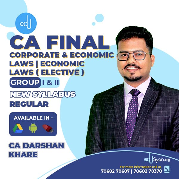 CA Final Corporate & Economic Laws | Economic Laws Elective Combo By CA Darshan Khare