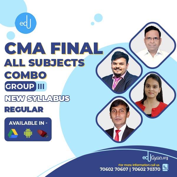 CMA Final Group- III All Subject Combo By CA Shivangi Agrawal & Nagender Sah & Sanjay Aggarwal & Vijay Sarda