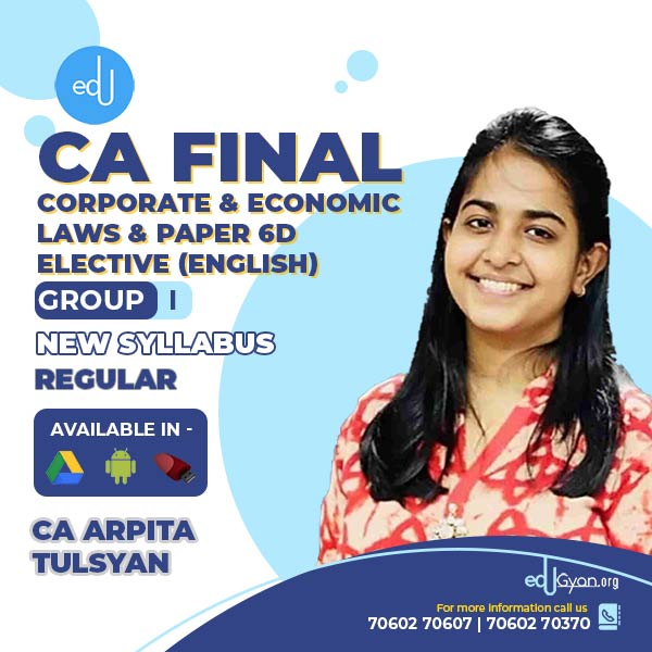 CA Final Corporate & Economic Laws + Paper 6D Elective Combo By CA Arpita Tulsyan (English)