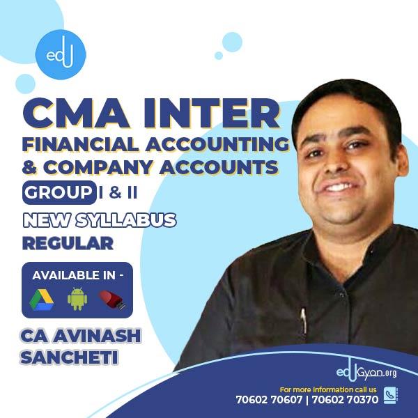 CMA Inter Financial Accounting & Company Accounts Combo By CA Avinash Sancheti